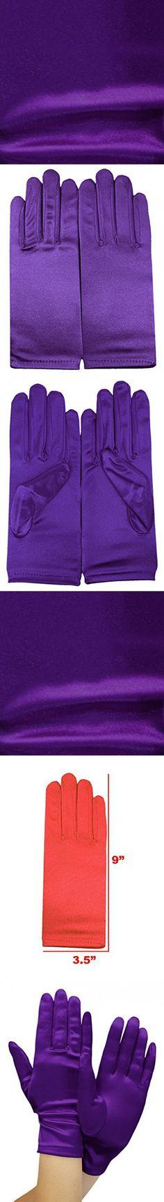 Enimay Women's Short Colored Satin Gloves Wedding Bridal Shower Formal Opera Purple