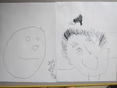 Sept and June Self Portraits-What We Learn from Self-Portraits ....wonderful piece on the journey and growth of three year olds -BRAVO --->Pondering Preschool
