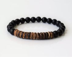 Men Bracelet, Mens Beaded Bracelets, Men's Bracelet, Mens Energy Bracelet, Black Onyx Bracelets, Coconut Bracelet, Black Bracelet, For Him