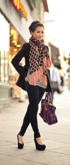 Black wedge boots with skinny jeans.  Find a scarf with subtle color.