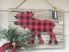 Shopping for Christmas Tree Decorations – Get Ready for Christmas : Buffalo plaid Moose Wall hanging wooden decor Vintage wood, Christmas decor, Rustic cabin decor Cabin Christmas, Christmas Signs, Rustic Christmas, Christmas Tree Decorations, Christmas Crafts, Holiday Decor, Plaid Christmas, Christmas Ornament, Xmas