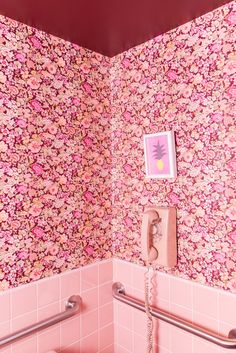 pink wallpapered bathroom