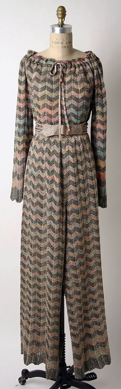 Missoni was gaining popularity in the 1970s. Her classic chevron design is shown here in a 70s style jump suit.