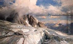 Saleinaz Glacier Oil Painting, Edward Theodore Compton Oil Paintings - NiceArtGallery.com