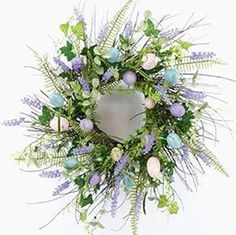 Wreaths For Door Wild Grass and Egg Spring Wreath for Front Door with Lavender Buds Pastel Blue Pink Purple Plastic Eggs Ferns Twig Base Farmhouse Easter Wreath Decor 21 Inch Spring Door Wreaths, Easter Wreaths, Wreaths For Front Door, Christmas Wreaths, Halloween Front Door Decorations, Halloween Front Doors, Larkspur Flower, Peonies And Hydrangeas, Wood Wreath