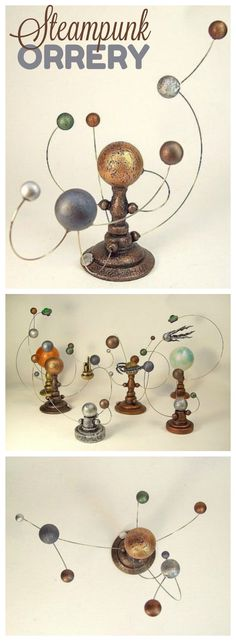 Steampunk orrery with 9 planetary bodies