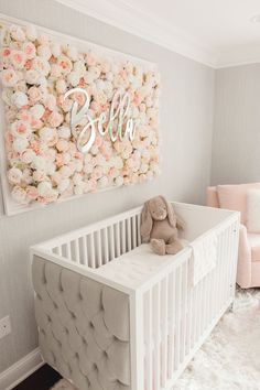 Guess Which Celebrity Nursery Inspired this Gorgeous Space – Project Nursery Baby room – Home Decoration Baby Room Design, Baby Room Decor, Baby Rooms, Girl Wall Decor, Baby Room Diy, Celebrity Nurseries, Pink And Gray Nursery, Floral Nursery, Rose Nursery
