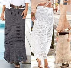 crochet-long-skirt-free-pattern I Wang to make a knee length skirt based on this pattern, following the pattern to the knee and then adding a decorative edge.