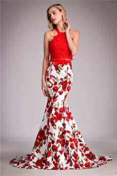 Sexy Red Long Tight Fitted 2 Piece Prom Dresses 2018 Floral Print Teens Mermaid Pageant Gowns Wedding Events Dress