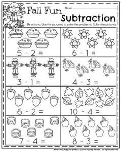 Fall Kindergarten Worksheets for November – Fall Fun Subtraction. Fall Kindergarten Worksheets for November – Fall Fun Subtraction. Subtraction Worksheets, Kindergarten Math Worksheets, Preschool Math, Math Activities, Kids Worksheets, Fall Preschool, Handwriting Worksheets, Printable Worksheets, Subtraction Kindergarten