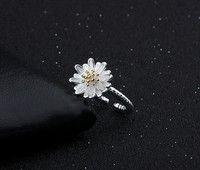 Wish | 925 Silver Girls Fresh Sweet Small Daisy Flower Temperament Ring Jewelry Size 8-17