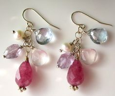 Pink Ruby Jade Multi Gemstone Cluster Dangle by PATCHOULIBIRD, $45.00