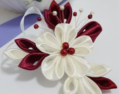 Items similar to Ivory & Green Kanzashi Flower - Hair Barrette, Clip or Comb on Etsy