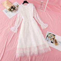 Fleepmart Sweet Mesh Dress Women 2020 Spring Summer elegant Ruffles princess Cake Dresses Flare sleeve A-line Party Lace Dress Vestido