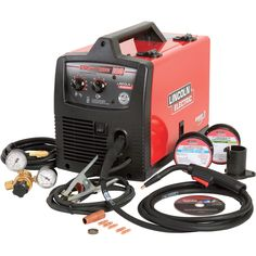 The Lincoln Electric Easy MIG 180 Flux Cored/MIG Welder is an ideal choice for farm, light fabrication, auto or home projects. If you have access to industrial power, you'll be able to weld up to for MIG welding or Wire Feed Welder, Welding Wire, Welding Helmet, Welding Tools, Welding Supplies, Welding Shop, Woodworking Tools, Miller Mig Welder, Best Tig Welder