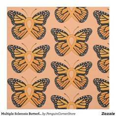 Multiple Sclerosis Butterfly Awareness Ribbon Fabric