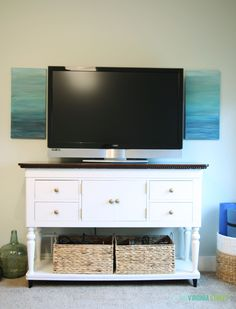 A Year of Change: Craft Room Makeover Easy DIY art panels flanking a TV Deck Furniture Layout, Patio Furniture For Sale, Living Room Furniture, Furniture Design, Life On Virginia Street, Tv Stand Designs, Furniture Arrangement, Mini, Painted Furniture