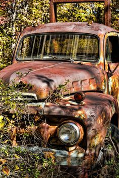 rusty old truck .