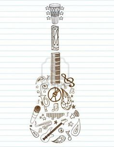 Selection of hand drawn music doodles make up this guitar, on lined paper with room for text. Stock Photo - 7528400
