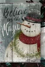 Primitive Christmas Sign Believe in the Magic Snowman Wooden Vintage Sign 1 of 4