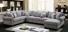 Furniture Of America Skyler II Rolled Arm Sectional Sofa CM6156GY