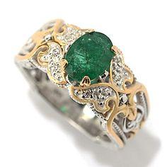 Gems en Vogue 1.19ctw Oval Zambian Emerald & White Sapphire Scrollwork Ring