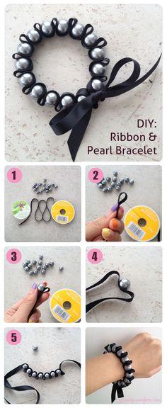 26 DIY Summer Inspiration Ideas, Ribbon & Pearl Woven Bracelet Tutorial