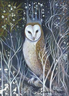 owl print from original Acrylic painting by Artist/Illustrator Karen Davis. Art And Illustration, Illustrations Pastel, Owl Art, Bird Art, Fantasy Kunst, Fantasy Art, Happy Winter Solstice, Winter Solstice Traditions, Summer Solstice