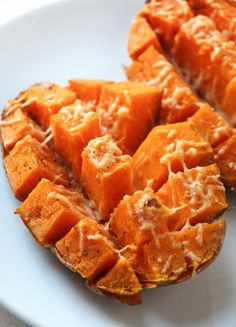 Roasted sweet potato - microwave 6-7 mins, roast in oven for 6-12 mins after cutting into these squares, but not all the way through so it holds shape