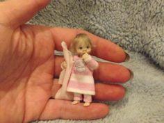 Miniature handmade MINI BABY GIRL TODDLER ooak DOLLHOUSE ART DOLL READY FOR BED $363.31