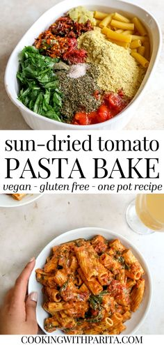 Vegan Sun-dried Tomato Pasta Bake, with 0 effort but still incredibly flavourful!
