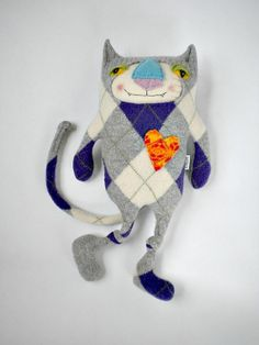 Argyle Stuffed Animal Cat from Wool Sweater Felted Repurposed So Dapper