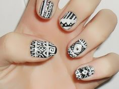 black and white, aztec nail design.