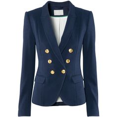 H&M Blazer (£30) ❤ liked on Polyvore featuring outerwear, jackets, blazers, tops, coats, jersey blazer, blazer jacket, h&m blazer, pocket jacket and blue jackets