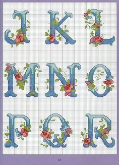 Floral cross stitch alphabet J-R Monogram Cross Stitch, Cross Stitch Alphabet Patterns, Embroidery Alphabet, Cross Stitch Rose, Cross Stitch Samplers, Cross Stitch Charts, Cross Stitch Designs, Cross Stitching, Cross Stitch Embroidery