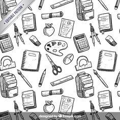 Hand drawn school equipment pattern Free Vector