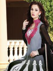 Sassy ash grey and black anarkali churidar: KSL2201