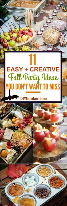 These 11 Fall Party Ideas Are GENIUS! They are great for any Autumn party such as Halloween, Thanksgiving, etc. Heads up: My favorites are the candy apple and hot chocolate bars!