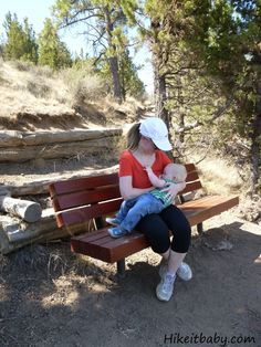 Hike it Baby Mama nursing on trail in Bend, OR