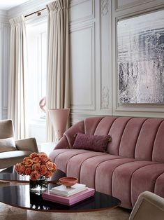 Sophisticated American design with European roots: Atelier AM #interior #design #home #decor #ideas #inspiration #cozy #color #light #wall #style #pink #sofa #art #deco