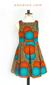Ankara tailored girls dress in a beautiful red, brown and blue African print fabric. click through and browse our extensive collection, only for kids! Ankara Styles For Women, Beautiful Ankara Styles, African Print Clothing, African Clothes, African Prints, African Fashion, Kids Fashion, Mode Wax, African Kids