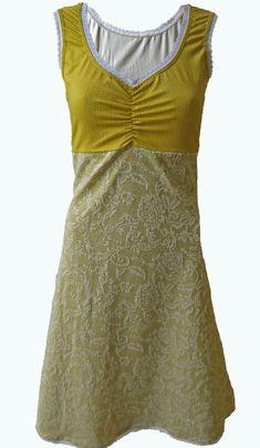 5b41efda5f0af1 Little Romance- okergeel mouwloos jurkje- Elizz maat 36 t m 56