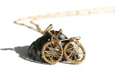 Small bicycle pendant from gold filled wire by TheTulipJewels, $54.00