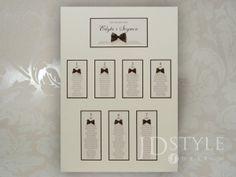 Plan stołów weselnych AL-09-PS to zestaw jednej dużej tablicy oraz winiet na stoły, które pomogą odnaleźć się gościom na Twoim weselu.