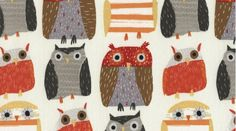 Owls in Bone 328 - WOODWINKED - Dear Stella Design - 1 Yard    Horizontal repeat: 12.25 inches, Vertical repeat: 8.5 inches the red faced owl