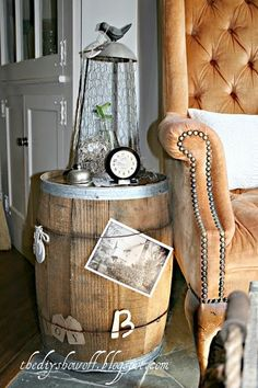 Old Barrel used as a Side Table