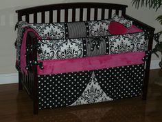 Custom  Crib Baby Bedding  3pc Set , Hot Pink, Black  and White Damask. $268.00, via Etsy.