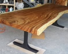 Live Edge Dining Table Reclaimed Acacia Wood Large by flowbkk