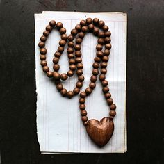 You're going to love our Hand Carved Wooden Bead Necklace With Heart Pendant. Browse Antique Farmhouse for vintage style home decor and jewelry! Wooden Bead Necklaces, Wooden Beads, Necklace Display, Jewellery Display, Custom Earrings, Custom Jewelry, Antique Farmhouse, Farmhouse Decor, Earring Cards