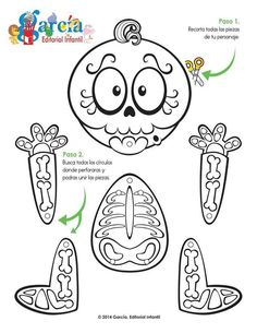 Drawings to color the day of the dead Fete Halloween, Halloween Crafts For Kids, Halloween Activities, Holidays Halloween, Happy Halloween, Halloween Decorations, Cute Crafts, Fall Crafts, Holiday Crafts